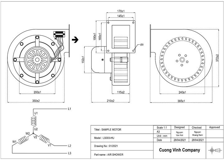 Bản vẽ kĩ thuật của LS003-HU